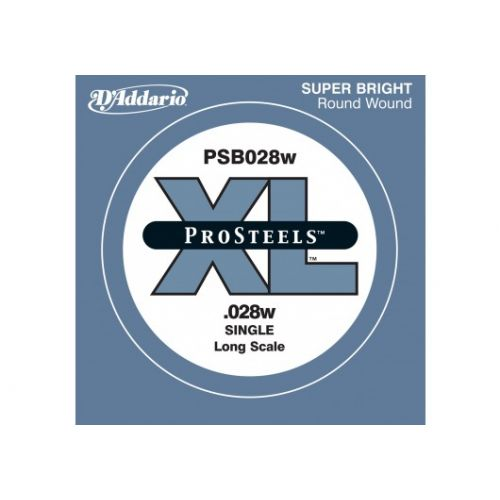D'ADDARIO AND CO PSB028W PROSTEELS BASS GUITAR SINGLE STRING LONG SCALE .028