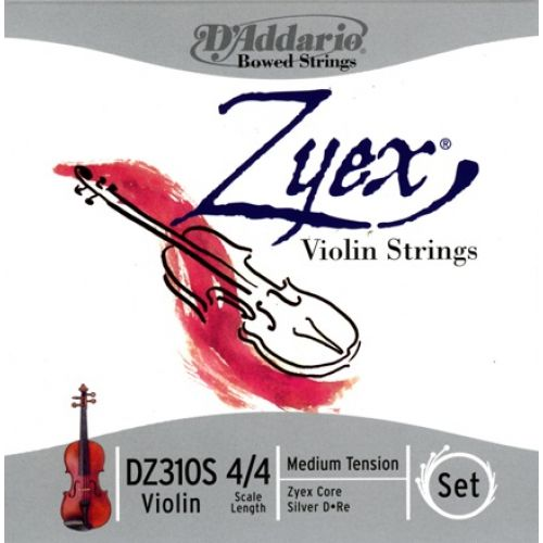 D'ADDARIO AND CO ZYEX VIOLIN STRING SET WITH SILVER D 4/4 SCALE MEDIUM TENSION