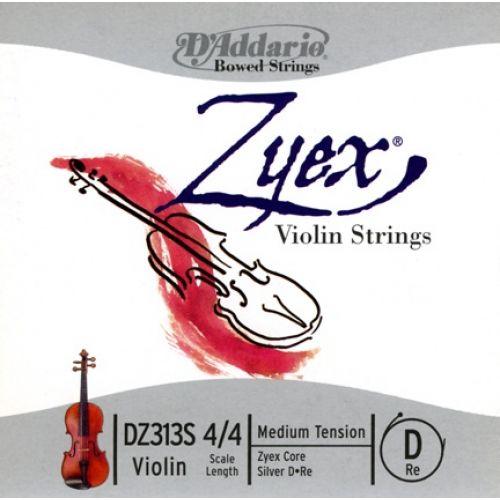 D'ADDARIO AND CO 4/4 ZYEX VIOLIN SINGLE SILVER D STRING SCALE MEDIUM TENSION