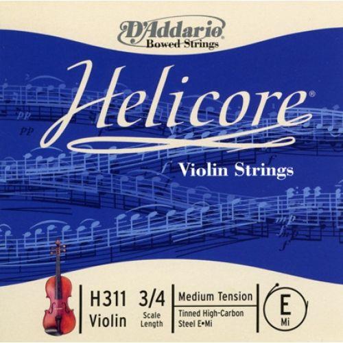 D'ADDARIO AND CO HELICORE VIOLIN SINGLE E STRING 3/4 SCALE MEDIUM TENSION