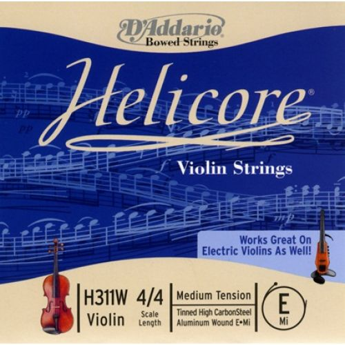 D'ADDARIO AND CO HELICORE VIOLIN SINGLE ALUMINUM WOUND E STRING 4/4 SCALE MEDIUM TENSION