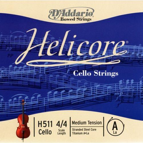 D'ADDARIO AND CO HELICORE CELLO SINGLE A STRING 4/4 SCALE MEDIUM TENSION