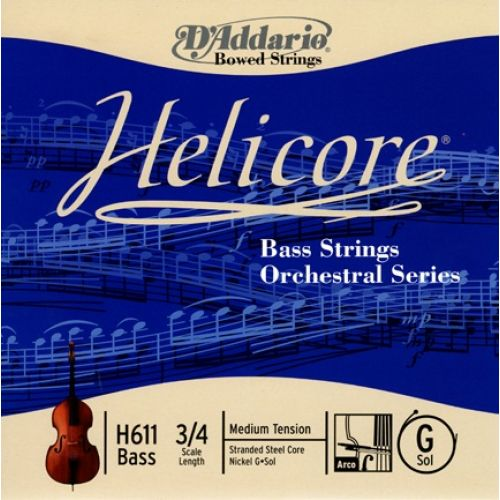 D'ADDARIO AND CO HELICORE ORCHESTRAL BASS SINGLE G STRING 3/4 SCALE MEDIUM TENSION