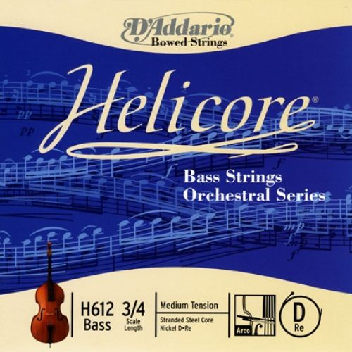 D'ADDARIO AND CO 3/4 HELICORE ORCHESTRAL BASS SINGLE D STRING SCALE MEDIUM TENSION