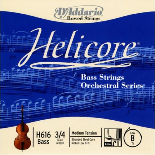D'ADDARIO AND CO 3/4 HELICORE ORCHESTRAL BASS SINGLE LOW B STRING SCALE MEDIUM TENSION