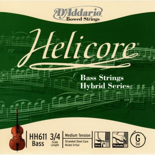 D'ADDARIO AND CO HELICORE HYBRID BASS SINGLE G STRING 3/4 SCALE MEDIUM TENSION