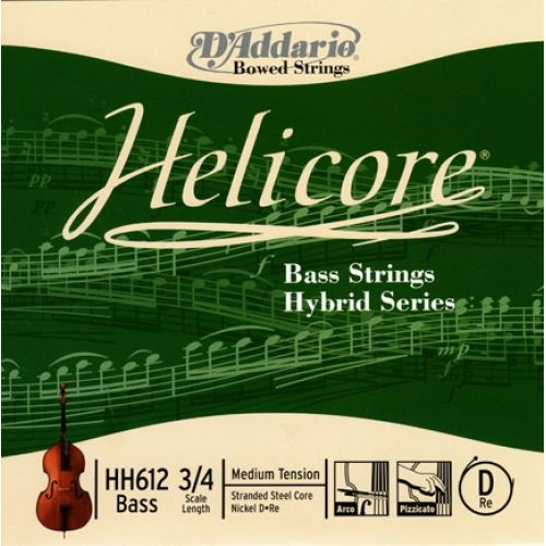 D'ADDARIO AND CO HELICORE HYBRID BASS SINGLE D STRING 3/4 SCALE MEDIUM TENSION