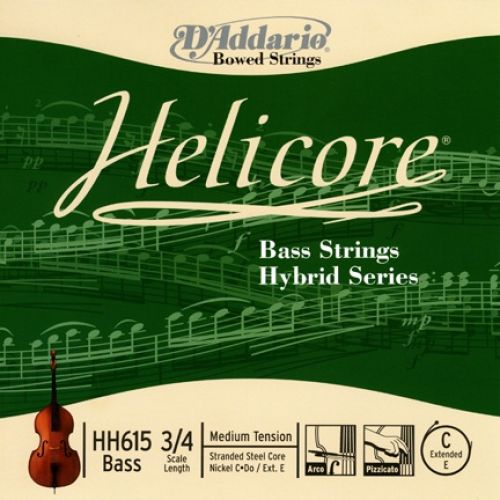 D'ADDARIO AND CO HELICORE HYBRID BASS SINGLE C (EXTENDED E) STRING 3/4 SCALE MEDIUM TENSION