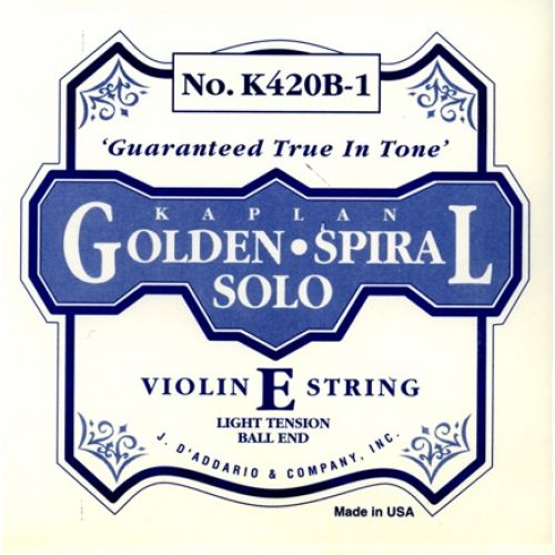 D'ADDARIO AND CO 4/4 KAPLAN GOLDEN SPIRAL SOLO BALL END VIOLIN SINGLE E STRING SCALE LIGHT TENSION