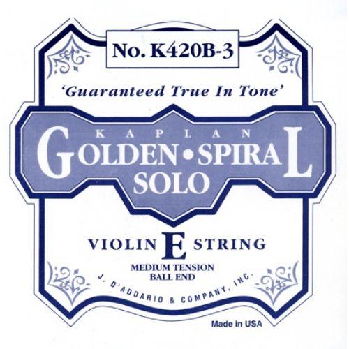 D'ADDARIO AND CO 4/4 KAPLAN GOLDEN SPIRAL SOLO BALL END VIOLIN SINGLE E STRING SCALE MEDIUM TENSION