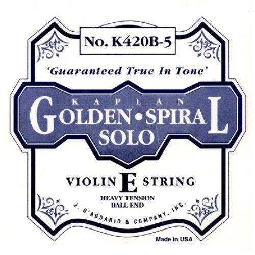 D'ADDARIO AND CO 4/4 KAPLAN GOLDEN SPIRAL SOLO BALL END VIOLIN SINGLE E STRING SCALE HEAVY TENSION