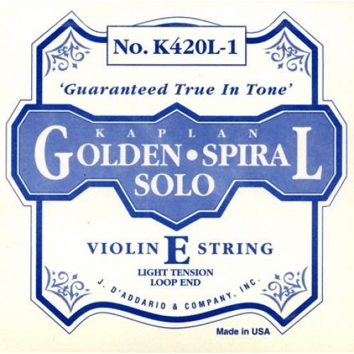 D'ADDARIO AND CO KAPLAN GOLDEN SPIRAL SOLO LOOP END VIOLIN SINGLE E STRING 4/4 SCALE LIGHT TENSION