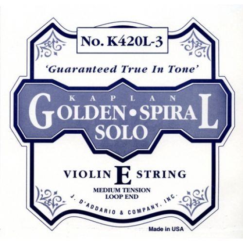 D'ADDARIO AND CO KAPLAN GOLDEN SPIRAL SOLO LOOP END VIOLIN SINGLE E STRING 4/4 SCALE MEDIUM TENSION
