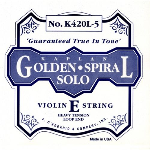 D'ADDARIO AND CO 4/4 KAPLAN GOLDEN SPIRAL SOLO LOOP END VIOLIN SINGLE E STRING SCALE HEAVY TENSION