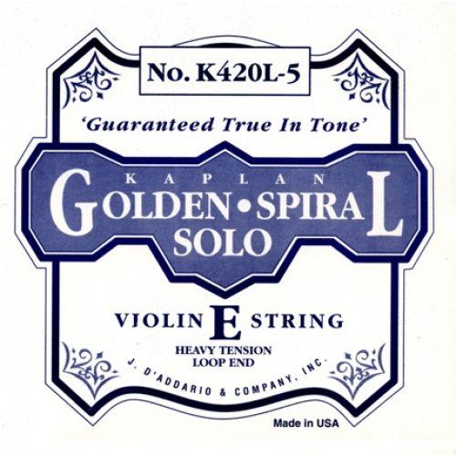 D'ADDARIO AND CO KAPLAN GOLDEN SPIRAL SOLO LOOP END VIOLIN SINGLE E STRING 4/4 SCALE HEAVY TENSION