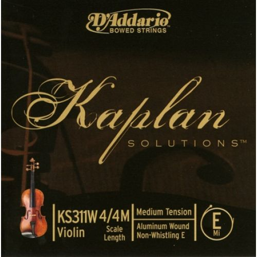 D'ADDARIO AND CO 4/4 KAPLAN NON-WHISTLING VIOLIN ALUMINUM WOUND E STRING SCALE MEDIUM TENSION