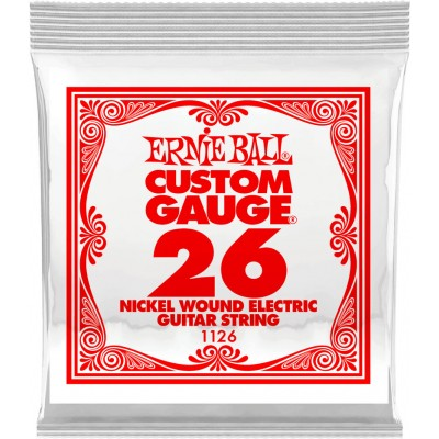 Ernie Ball .026 Plain Steel Electric or Acoustic Guitar String 6 Pack 1126