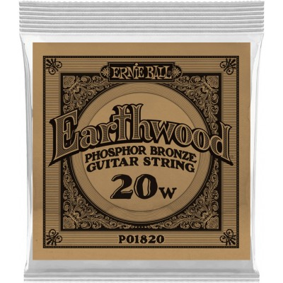 ERNIE BALL .020 EARTHWOOD PHOSPHOR BRONZE ACOUSTIC GUITAR STRINGS