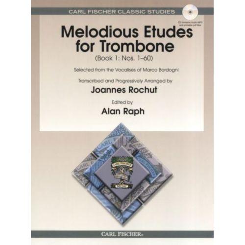 CARL FISCHER ROCHUT J. - MELODIOUS ETUDES FOR TROMBONE VOL.1 + CD