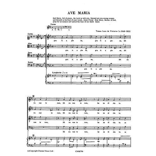 CHESTER MUSIC VICTORIA TOMAS LUIS (DE) - AVE MARIA - CHORALE SATB, PIANO