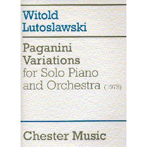 CHESTER MUSIC PAGANINI VARIATIONS FOR SOLO PIANO AND ORCHESTRA FULL SCORE - PIANO SOLO