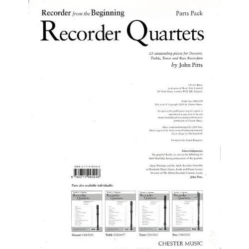 CHESTER MUSIC JOHN PITTS - RECORDER FROM THE BEGINNING RECORDER QUARTETS - WIND ENSEMBLE