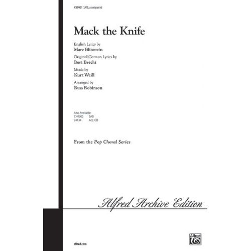 ALFRED PUBLISHING WEILL KURT - MACK THE KNIFE - MIXED VOICES
