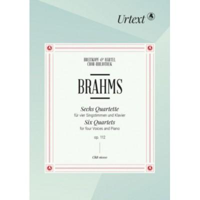 EDITION BREITKOPF BRAHMS JOHANNES - SECHS QUARTETTE OP. 112 - SOLI, MIXED CHOIR, PIANO