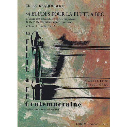COMBRE JOUBERT C.H. - 34 ETUDES POUR LA FLUTE A BEC VOL.1 : ETUDES 1 A 17