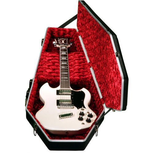COFFIN CASE GUITAR CASE DELUXE SERIE - BLACK ABS RED VELVET INSIDE