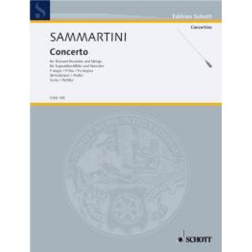 SCHOTT SAMMARTINI GIUSEPPE - CONCERTO F MAJOR - DESCANT RECORDER AND STRINGS