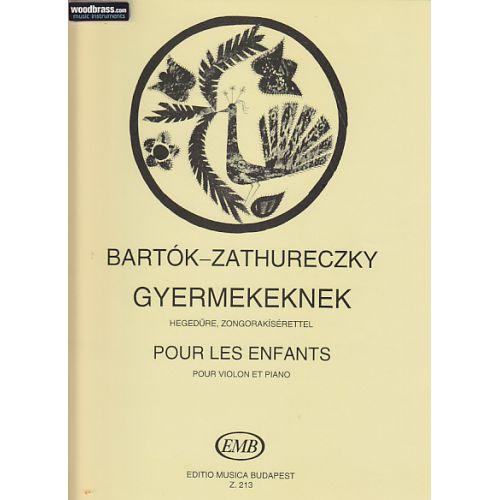 EMB (EDITIO MUSICA BUDAPEST) BARTOK B. - FOR CHILDREN - VIOLON ET PIANO