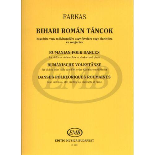 EMB (EDITIO MUSICA BUDAPEST) FARKAS F. - DANZE POPOLARI RUMENE - VIOLON ET PIANO