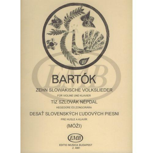EMB (EDITIO MUSICA BUDAPEST) BARTOK B. - CANTI POPOLARI SLOVENI (10) - VIOLON ET PIANO