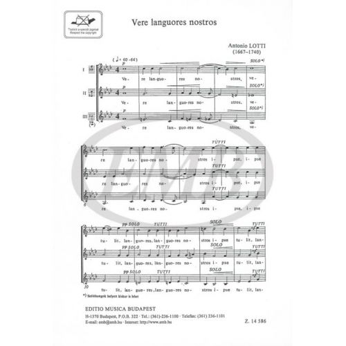 EMB (EDITIO MUSICA BUDAPEST) LOTTI A. - VERE LANGUORES NOSTROS - CHOEUR