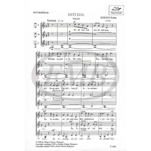 Emb Editio Musica Budapest Kodaly Esti Dal 3 Voix