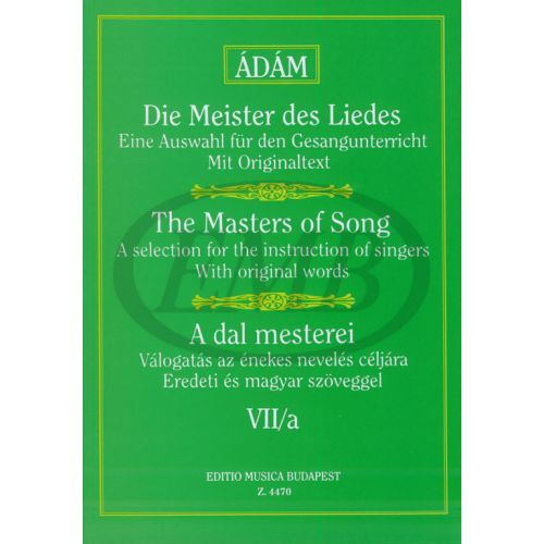 EMB (EDITIO MUSICA BUDAPEST) THE MASTERS OF SONGS VOL.7A - VOICE AND PIANO