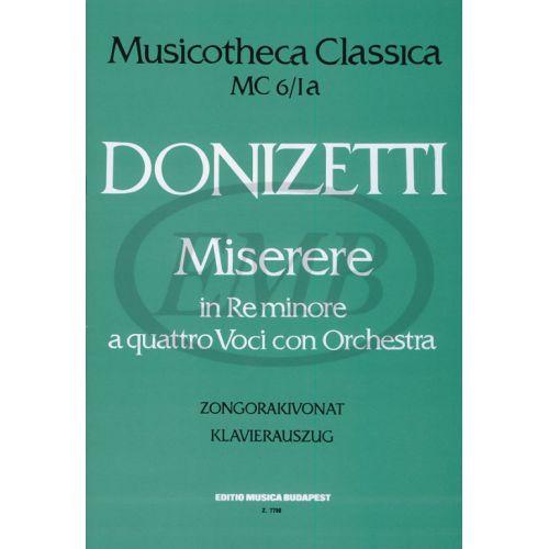 EMB (EDITIO MUSICA BUDAPEST) DONIZETTI G. - MISERERE IN D MINORE ORATORIUM - PIANO