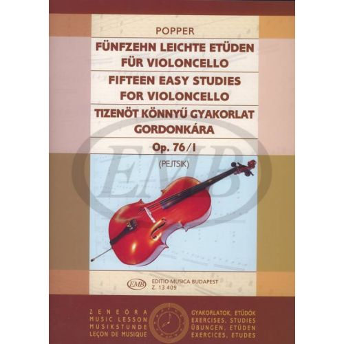 EMB (EDITIO MUSICA BUDAPEST) POPPER - FIFTEEN EASY STUDIES OP.76/1 - VIOLONCELLE