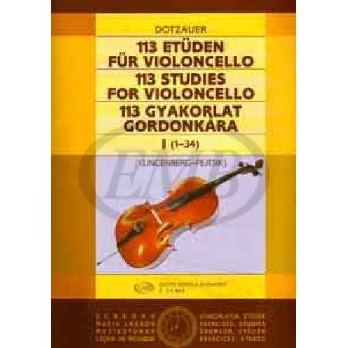 EMB (EDITIO MUSICA BUDAPEST) DOTZAUER - 113 STUDIES VOL.1 - VIOLONCELLE