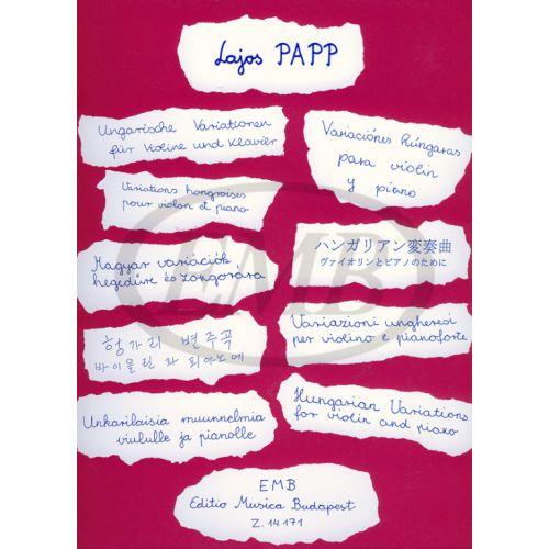 EMB (EDITIO MUSICA BUDAPEST) PAPP - HUNGARIAN VARIATIONS - VIOLON ET PIANO