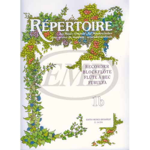 EMB (EDITIO MUSICA BUDAPEST) REPERTOIRE FOR MUSIC SCHOOLS - RECORDER VOL1B - RECORDER SOLO