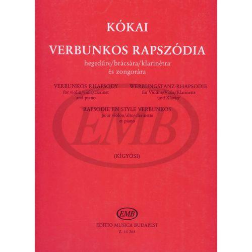 EMB (EDITIO MUSICA BUDAPEST) KOKAI - VERBUNKOS RHAPSODY - VIOLON ET PIANO