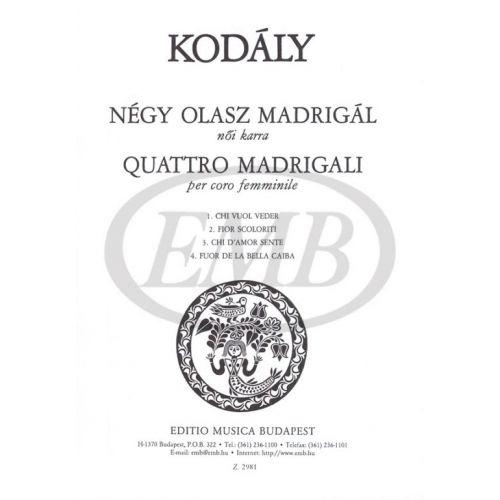 EMB (EDITIO MUSICA BUDAPEST) KODALY Z. - MADRIGALI (4) - CHOEUR