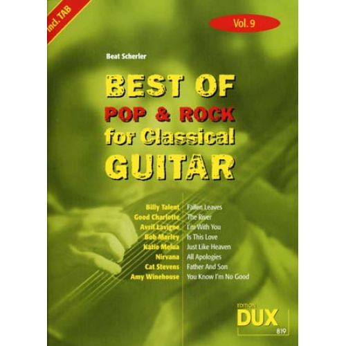 EDITION DUX BEST OF POP & ROCK FOR CLASSICAL GUITAR SOLF. & TAB VOL.9