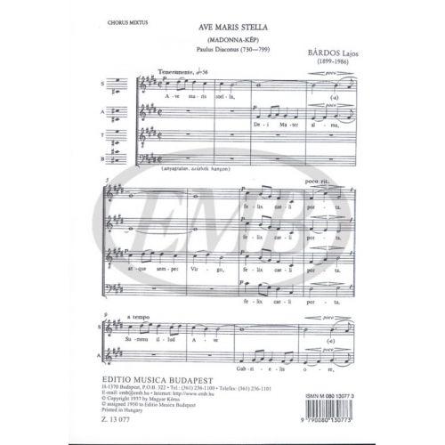 EMB (EDITIO MUSICA BUDAPEST) BARDOS L. - AVE MARIS STELLA - CHOEUR