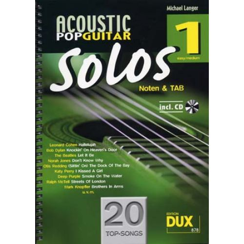 EDITION DUX ACOUSTIC POP GUITAR SOLOS SOLF. & TAB VOL.1 + CD