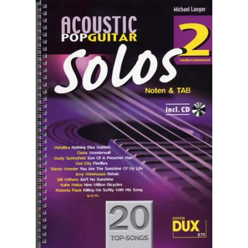 EDITION DUX ACOUSTIC POP GUITAR SOLOS SOLF. & TAB VOL.2 + CD