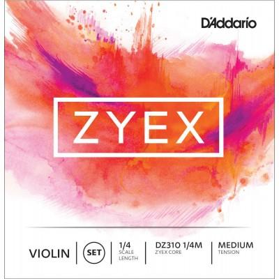 D'ADDARIO AND CO ZYEX VIOLIN STRING SET FOR NECK 1/4 TENSION MEDIUM