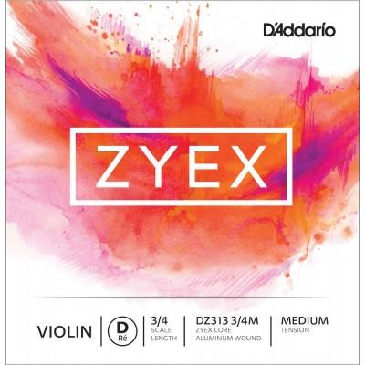D'ADDARIO AND CO STRING ALONE (RE) FOR VIOLIN ZYEX HANDLE 3/4 TENSION MEDIUM
